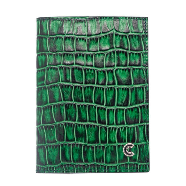 Vertical Wallet Green Croco