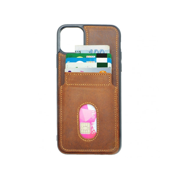 iPhone 11 Card Holder Case - Brown