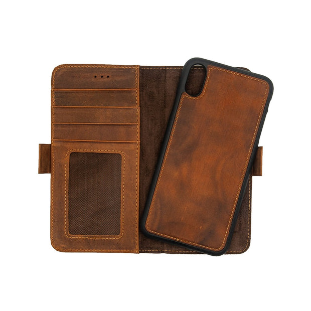 iPhone Xr Magnetic Wallet Case 2 in 1 Brown