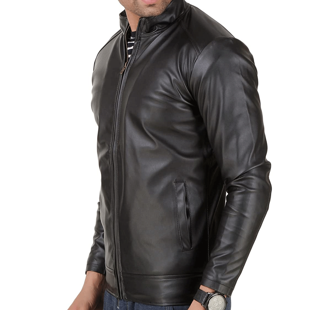 Faux Leather Black Jacket for Man - Style & Youth