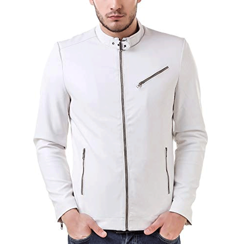 Leather Retail White Color Spanish Design Faux Leather Biker Jacket for Man - Style & Youth