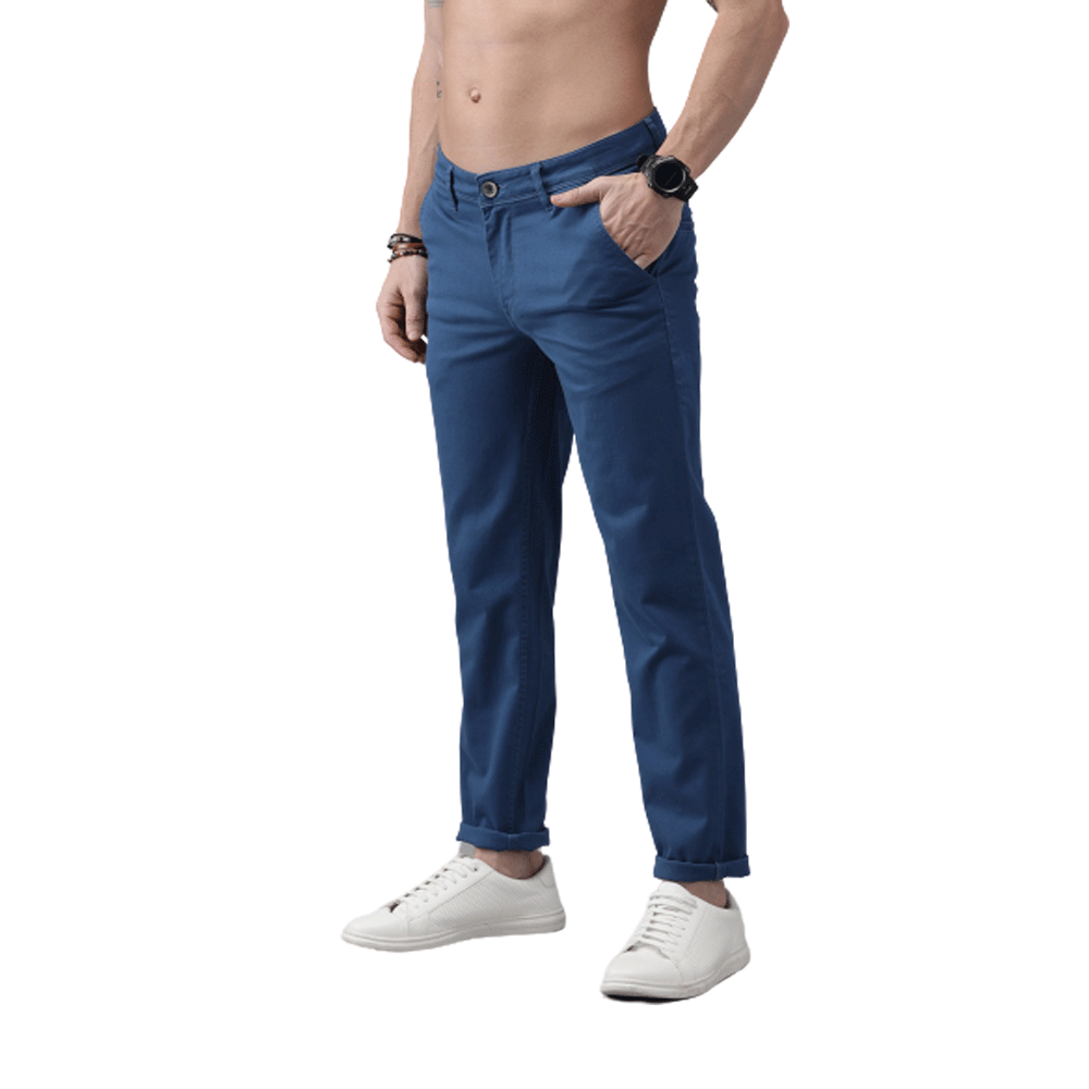 Men Blue Regular Fit Solid Chinos - Style & Youth