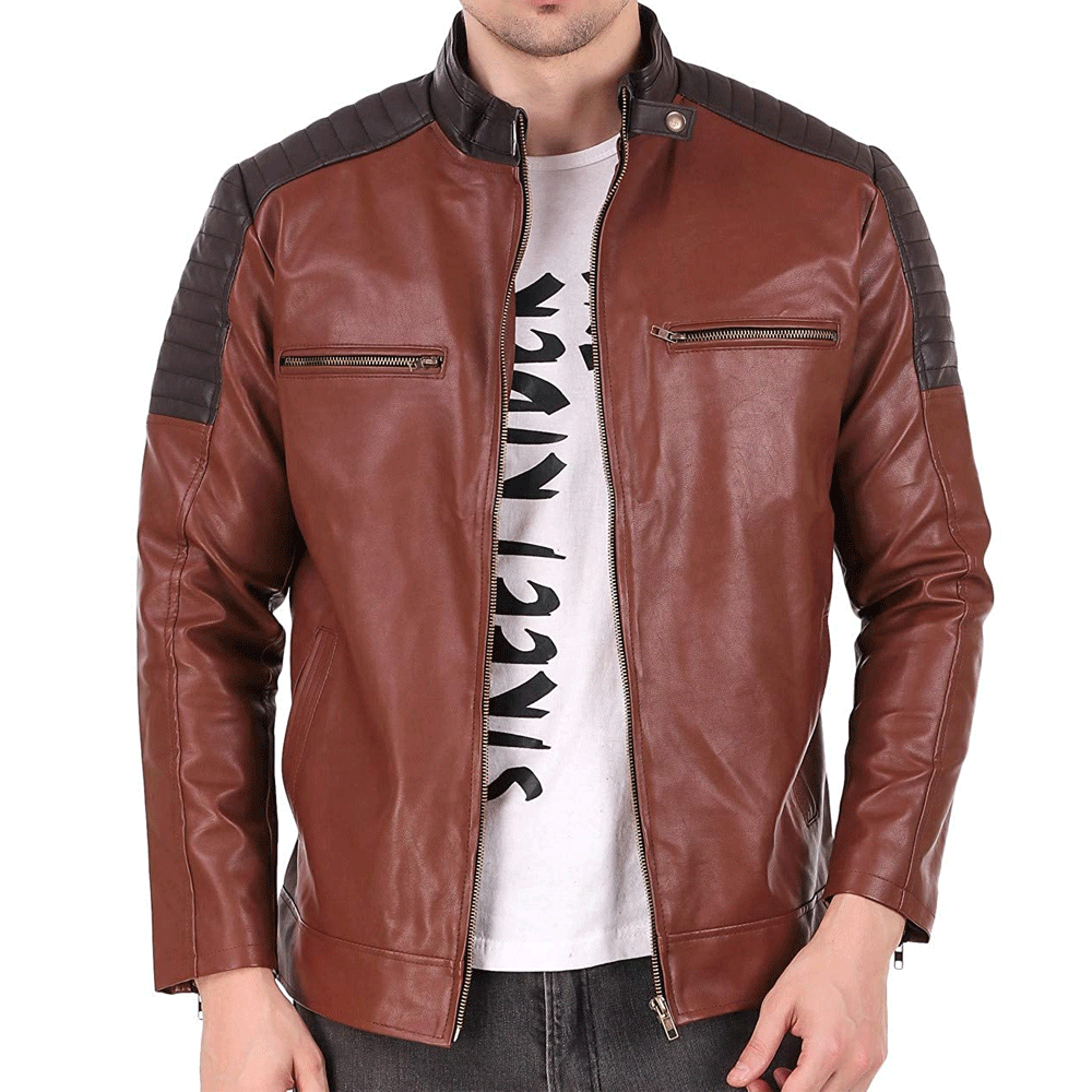 Leather Retail® Brown Crafted Design Faux Leather Jacket for Man's - Style & Youth