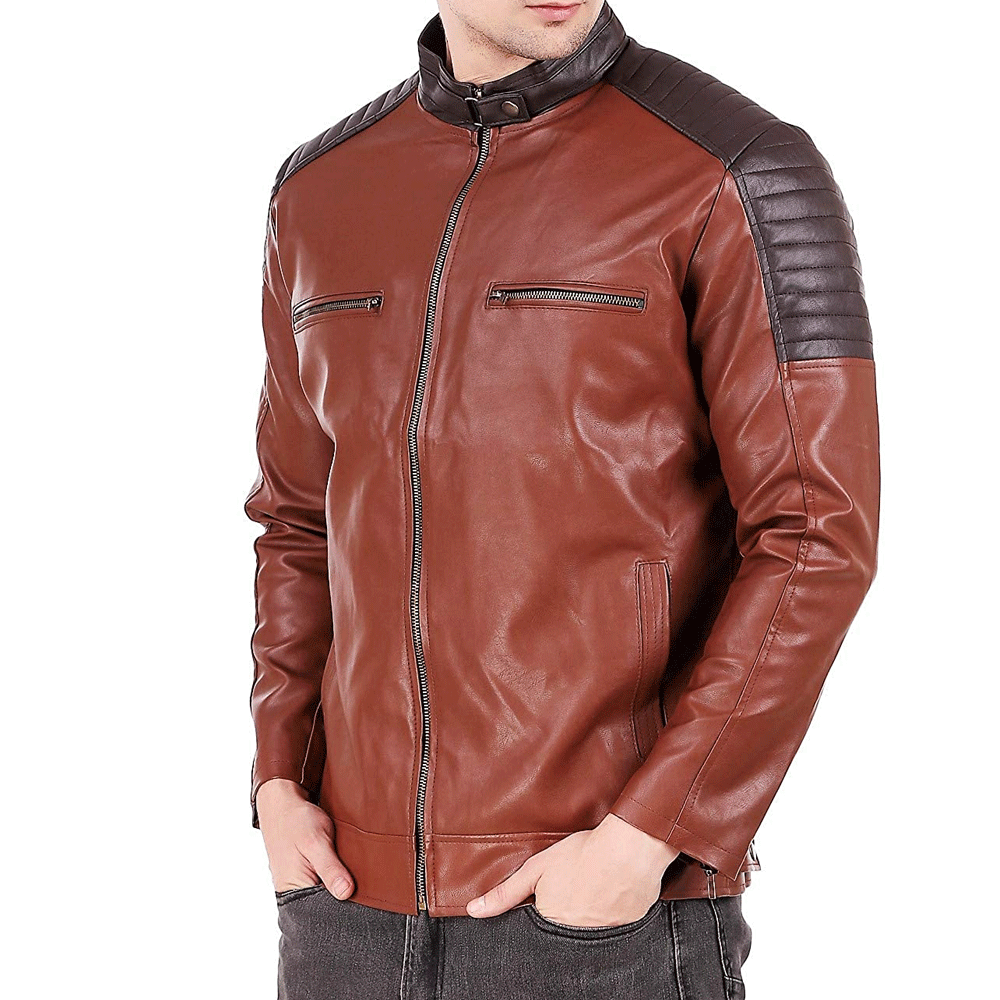Leather Retail BrownFaux Leather Biker Jacket - Style & Youth