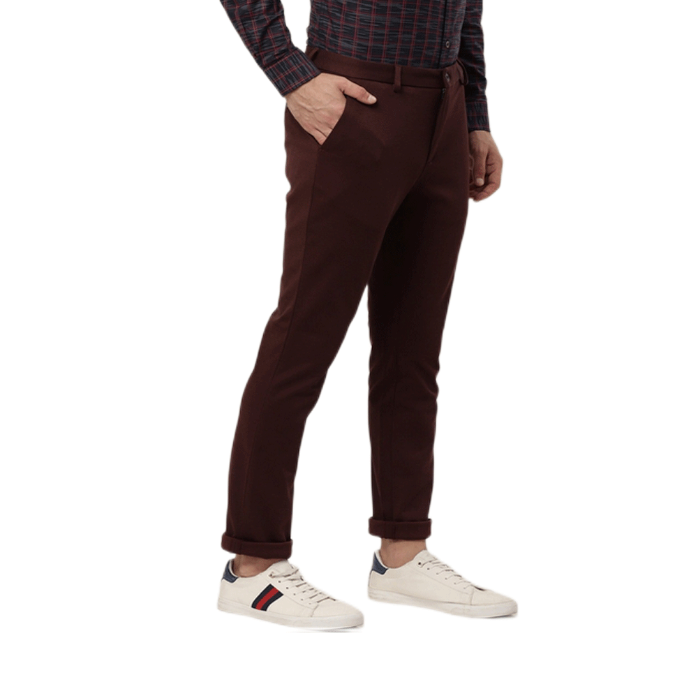 Men Burgundy Slim Fit Solid Chinos - Style & Youth