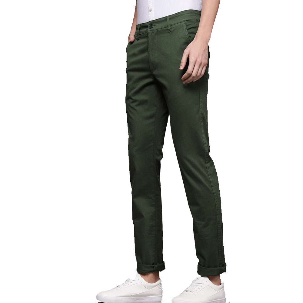 Men Olive Green Slim Fit Solid Chinos - Style & Youth