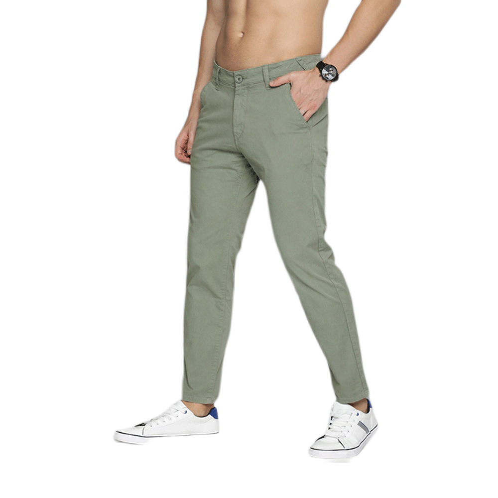 Men Sea Green Slim Fit Solid Chinos - Style & Youth