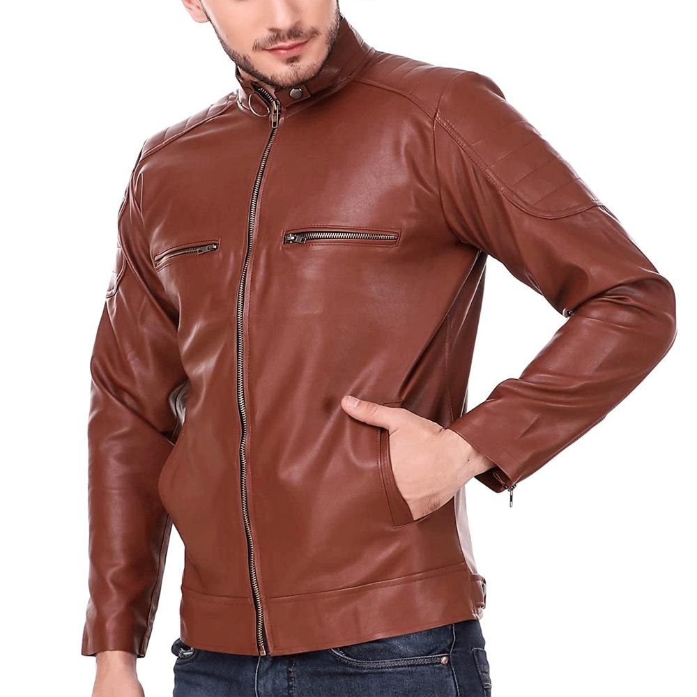 Leather Retail Tan Solid Biker Jacket for Man - Style & Youth