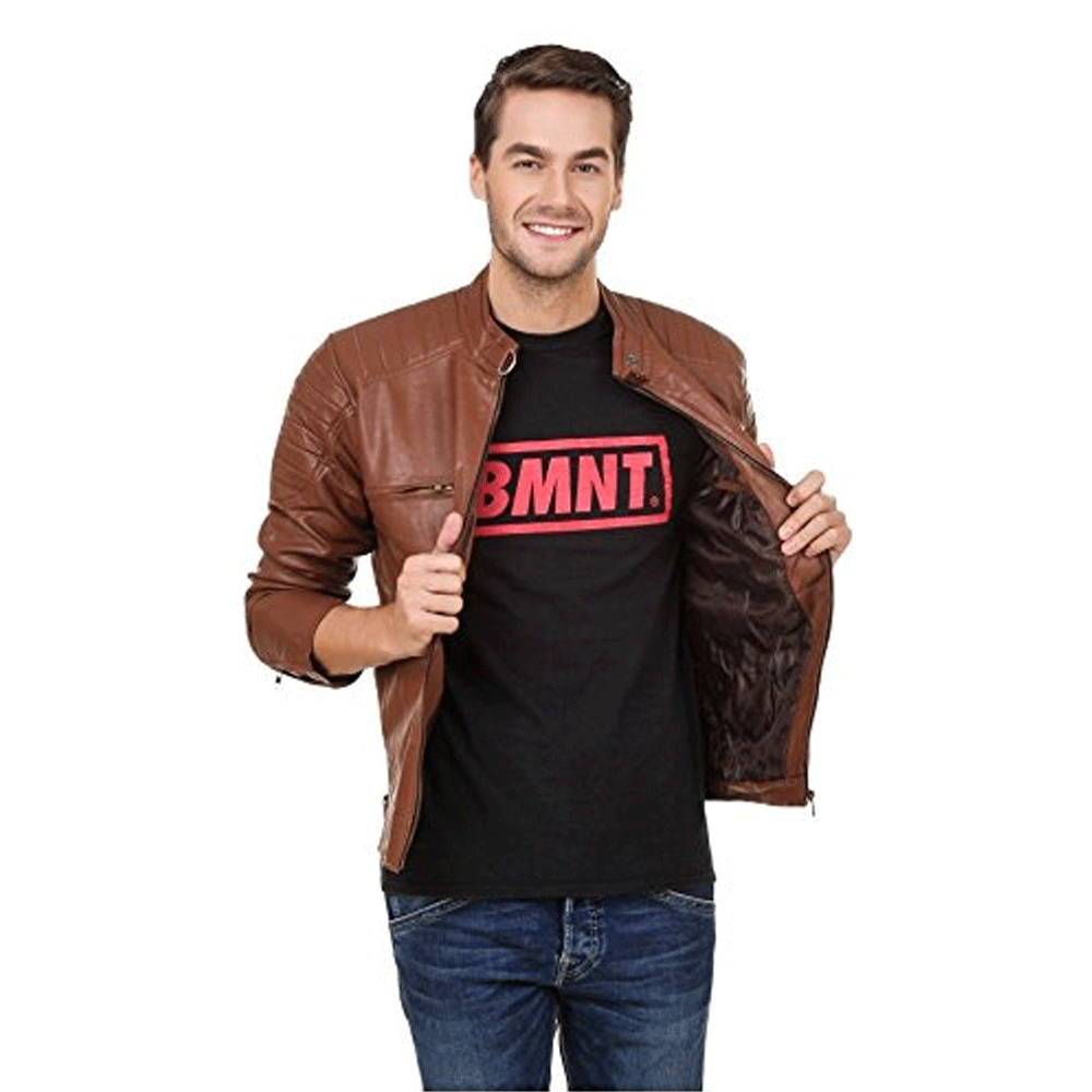 Brown Faux Leather Jacket for Man - Style & Youth