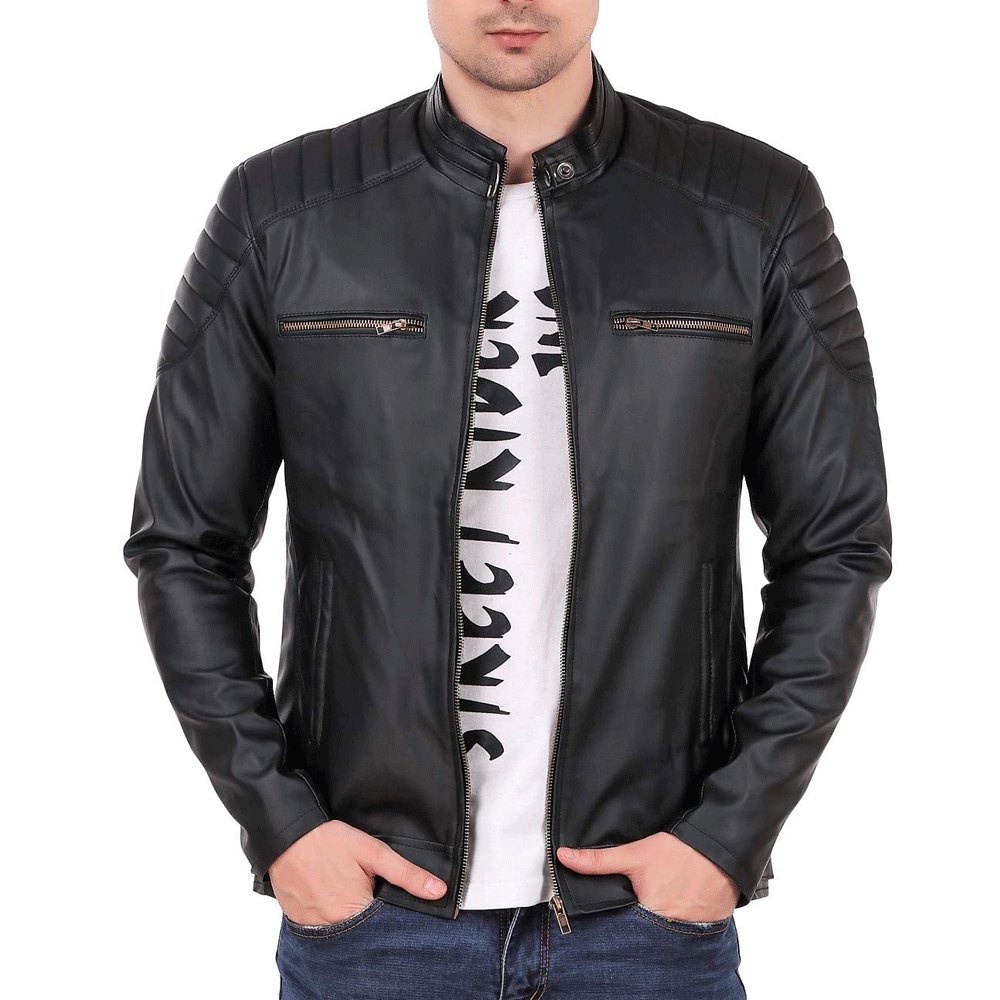 Leather Retail® Black Designer Digital Printed Faux Leather Jacket for Man's - Style & Youth