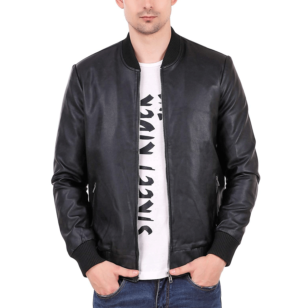 Leatehr Retail® Elastic Black Faux Leather Jacket for Man's - Style & Youth
