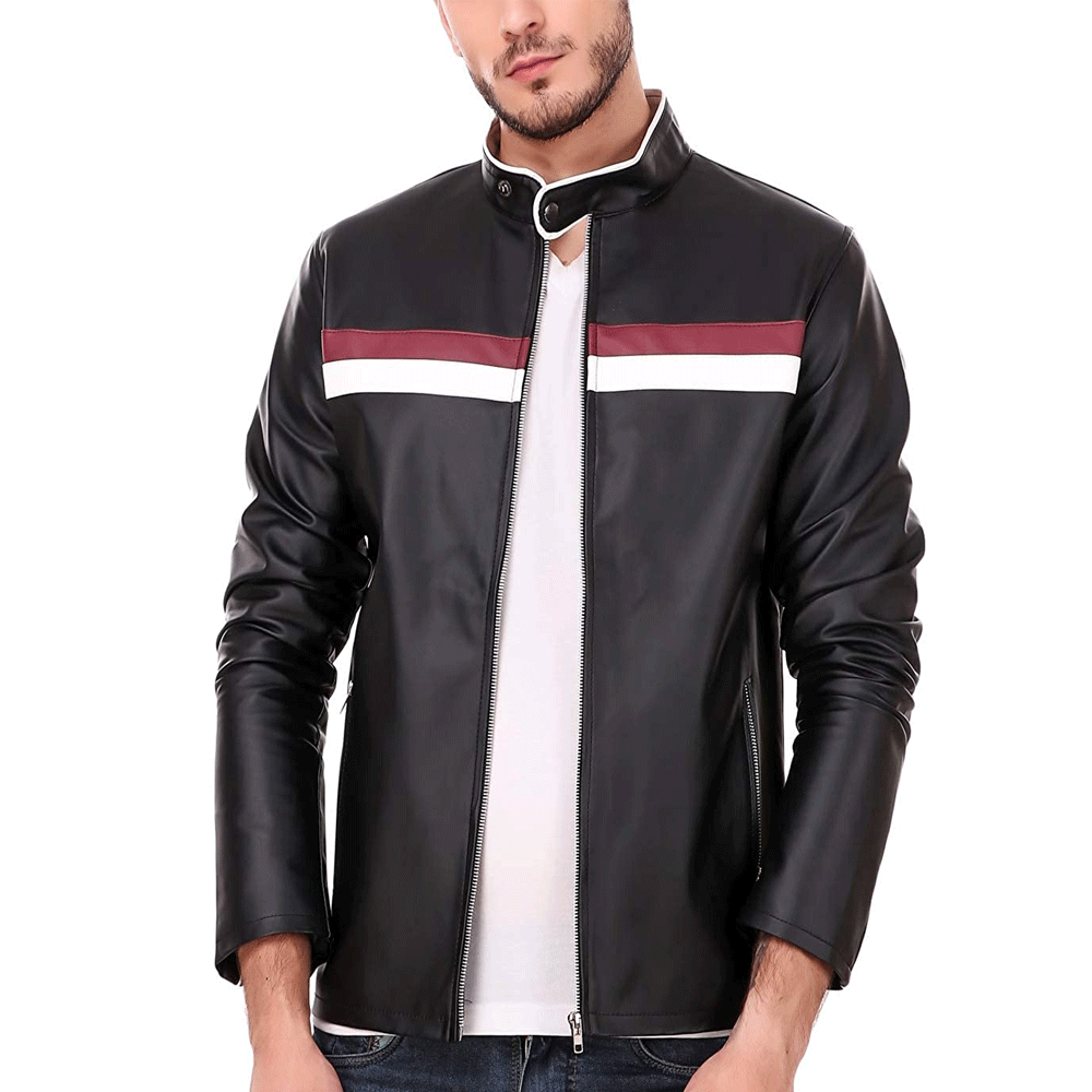 Leather Retail Black Color Spanish Design Faux Leather Biker Jacket for Man - Style & Youth