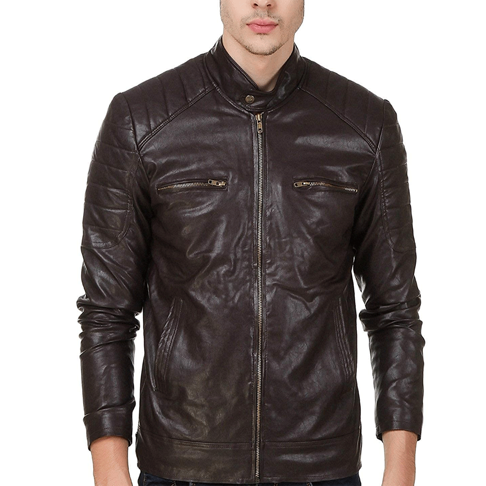 Leather Retail® Teakwood Faux Leather Biker Jacket for Man - Style & Youth
