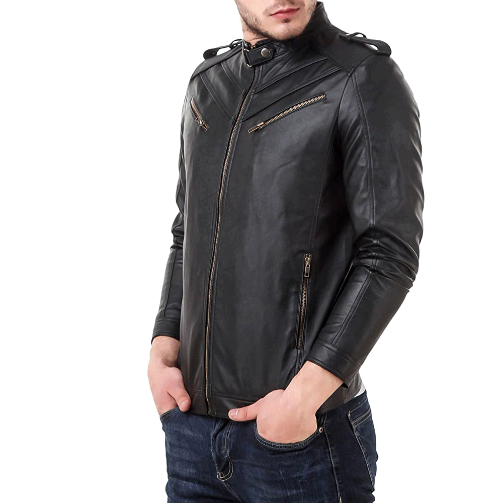 Leather Retail Black Spanish Design Faux Leather Jacket for Man - Style & Youth