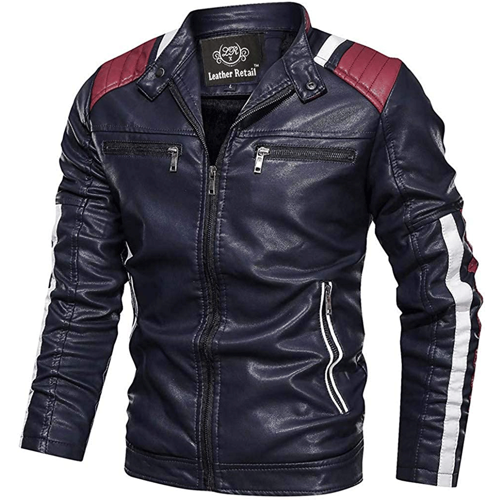 Leather Retail® Faux Leather Jacket for Man Vintage Stand Collar Biker Jacket - Style & Youth