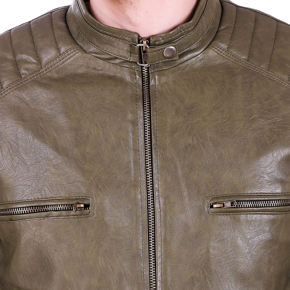 Leather Retail® Army Colour Faux Leather Jacket for Man's - Style & Youth