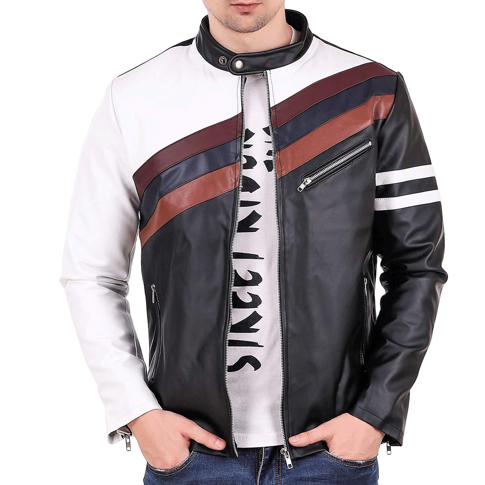 Leather Retail® Cross Design Black Faux Leather Jacket for Man - Style & Youth