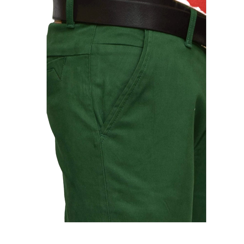 Men Green Slim Fit Solid Chinos - Style & Youth