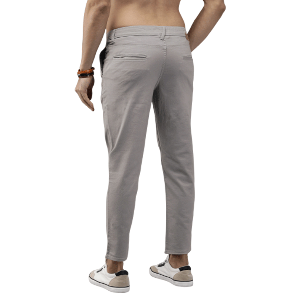 Men Grey Budford Tapered Fit Solid Chinos - Style & Youth