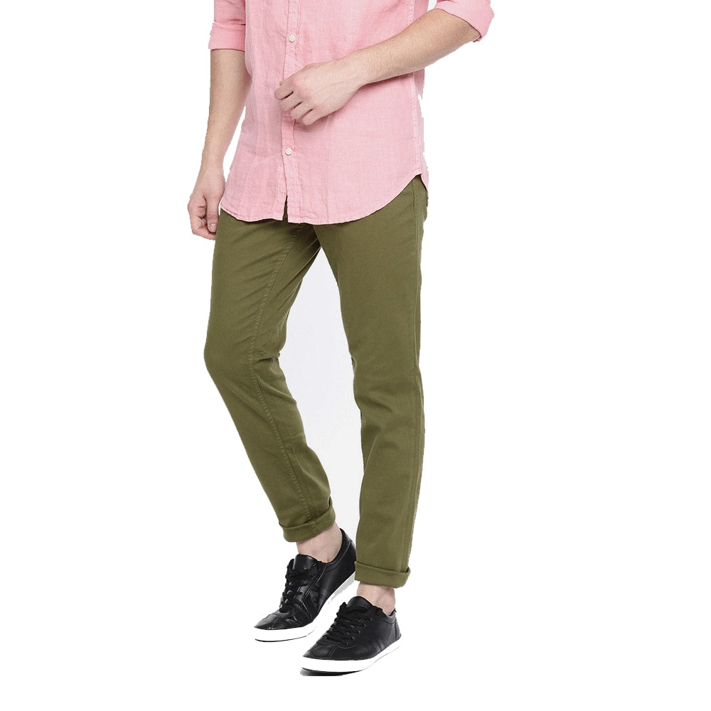 Men Khakhi Slim Fit Chinos - Style & Youth
