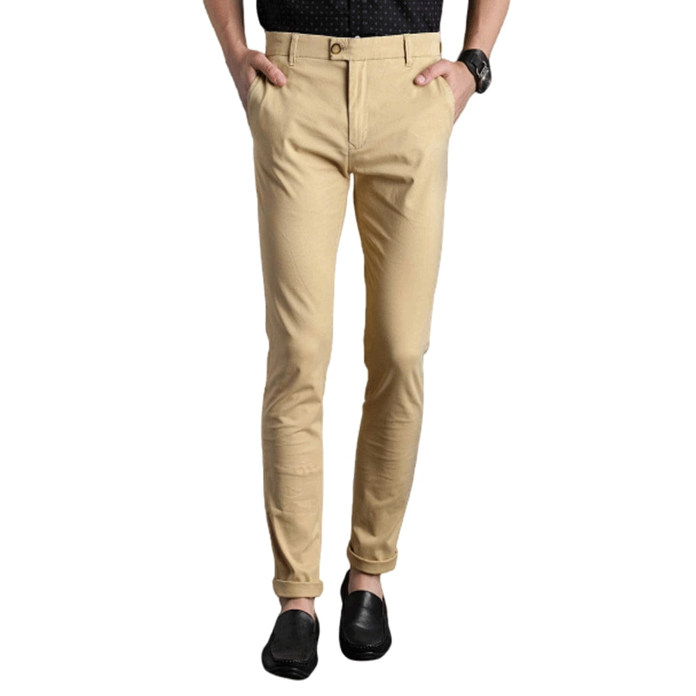 Men Khaki Slim Tapered Fit Solid Chinos - Style & Youth