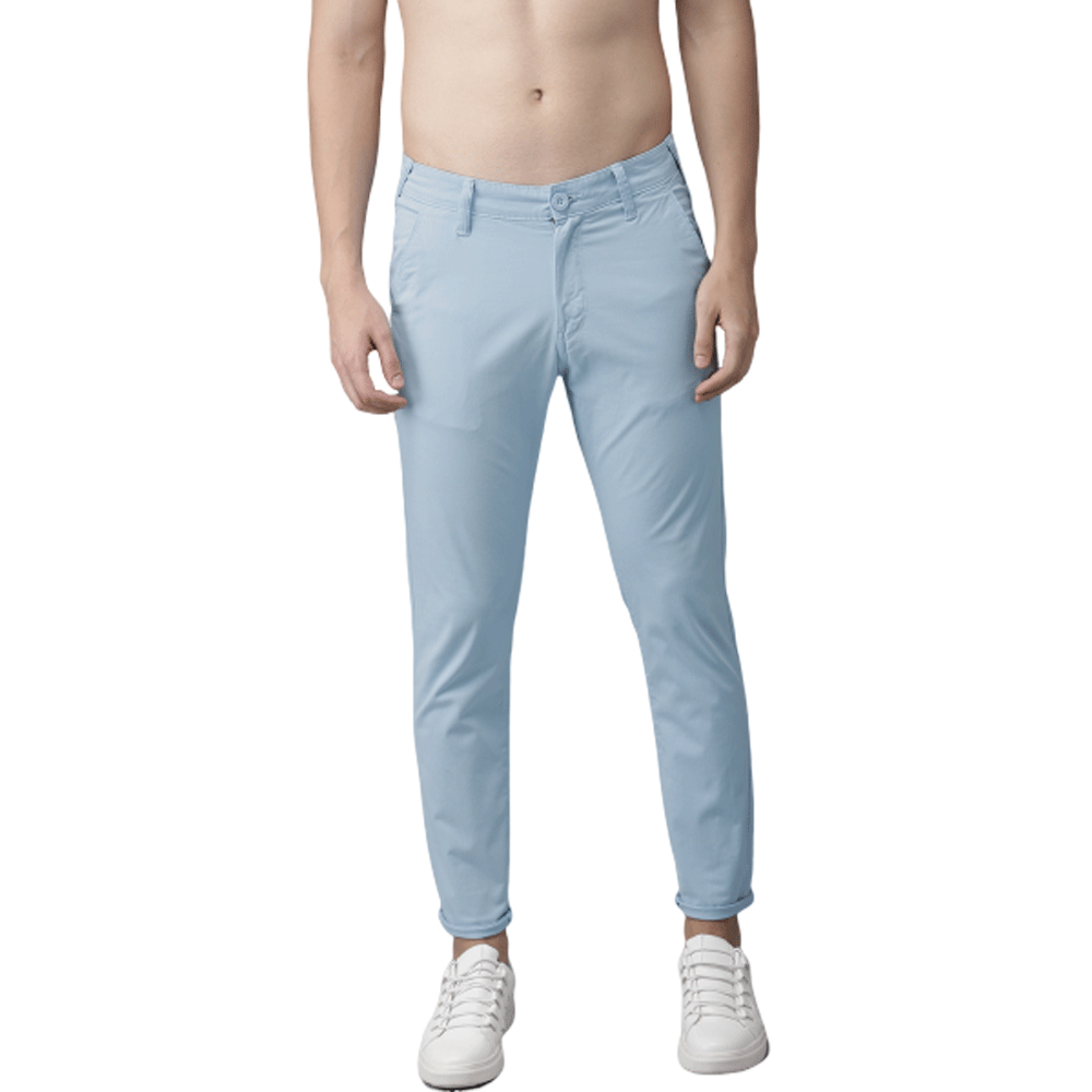 Men Blue Slim Fit Solid Chinos - Style & Youth