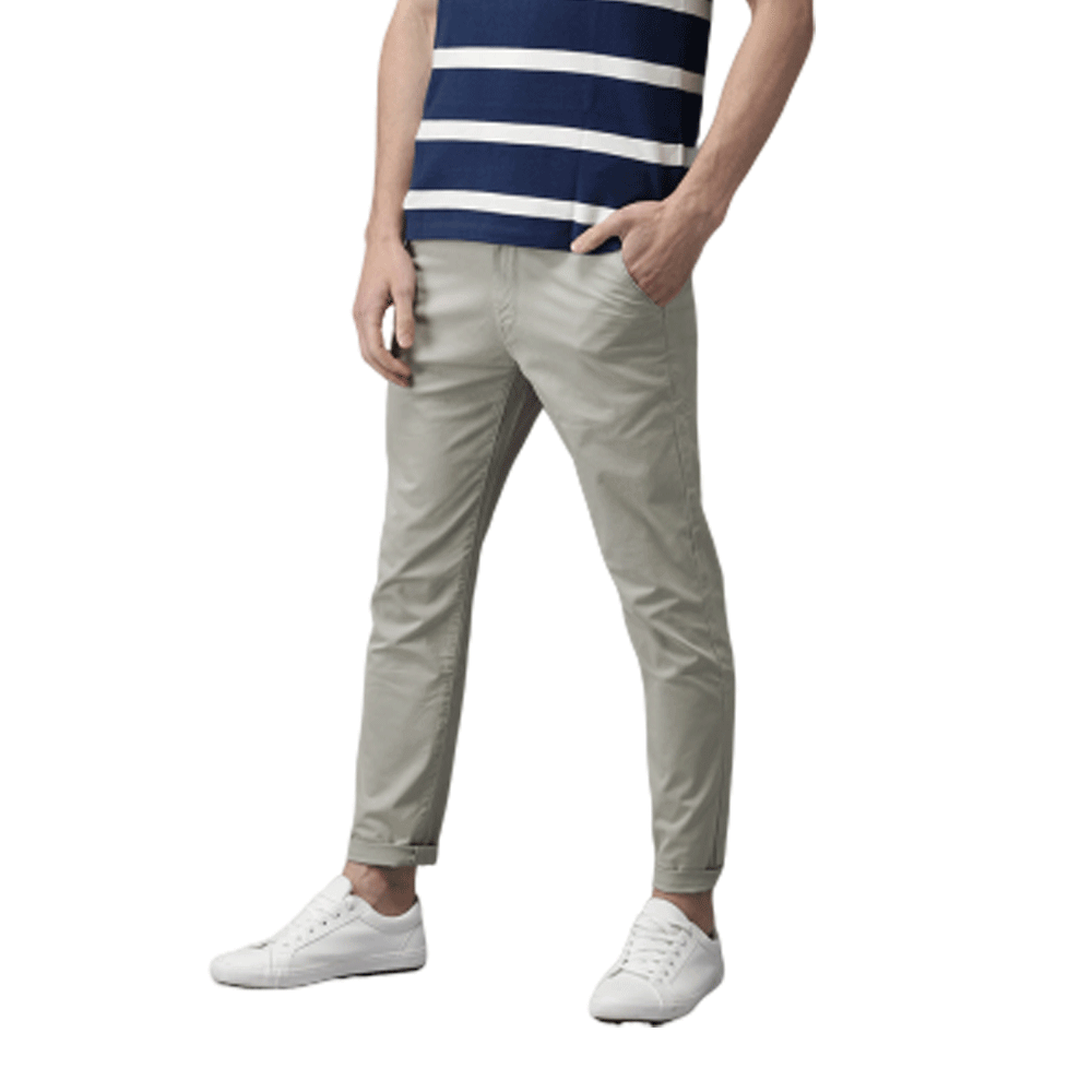 Men Grey Slim Fit Solid Chinos - Style & Youth