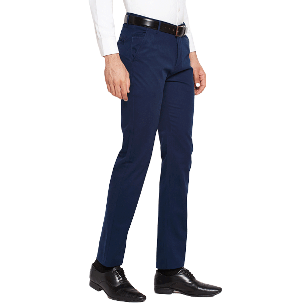 Men Navy Blue Slim Fit Solid Chinos - Style & Youth