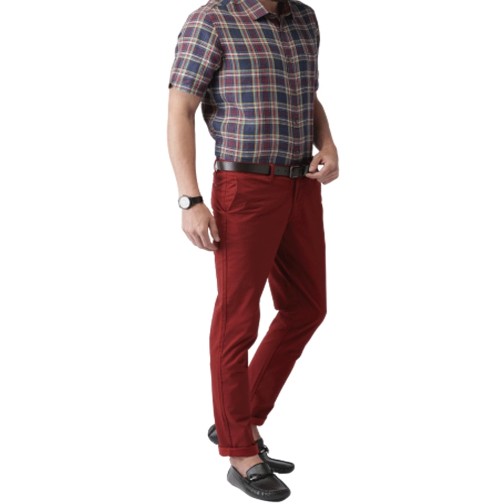 Men Maroon Slim Fit Chinos - Style & Youth