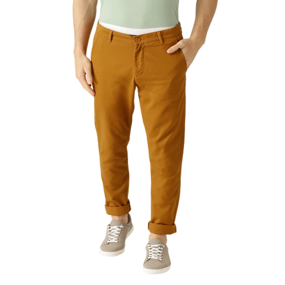 Men Mustard Brown Slim Fit Solid Chinos - Style & Youth