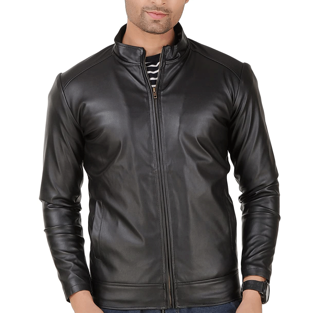 Leather Retail Black Faux Leather Biker Jacket - Style & Youth