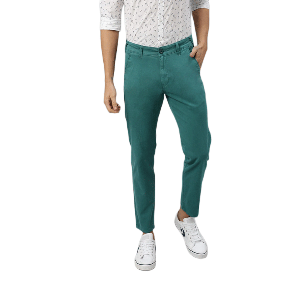 Men Teal Green Slim Fit Solid Chinos - Style & Youth