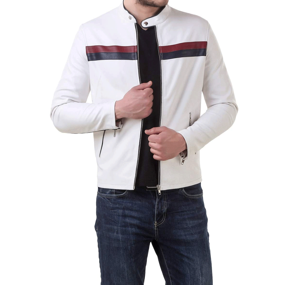 Leather Retail White Faux Leather Biker Jacket for Man - Style & Youth