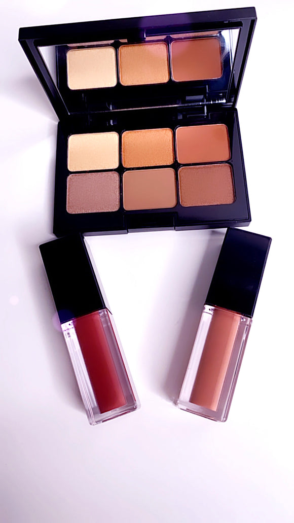 Brown Sugar - Eye Shadow Palette & Cream Lipsticks Bundle