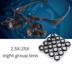 Multi-Power Double LED Lights Magnifier Eye Glasses