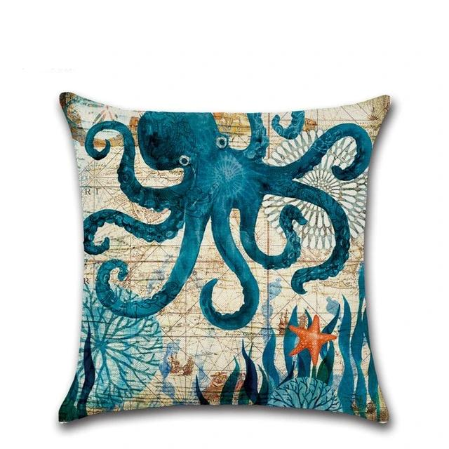 Marine Turtle Octopus Print Pillowcase