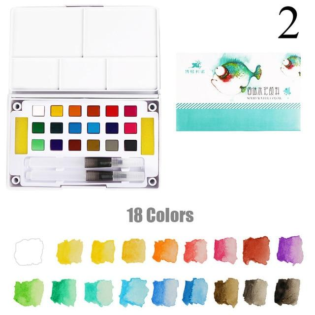Portable Solid Pigment Watercolour Paints Set