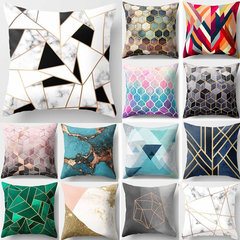 Colorful Geometric Pattern Cushion Cover
