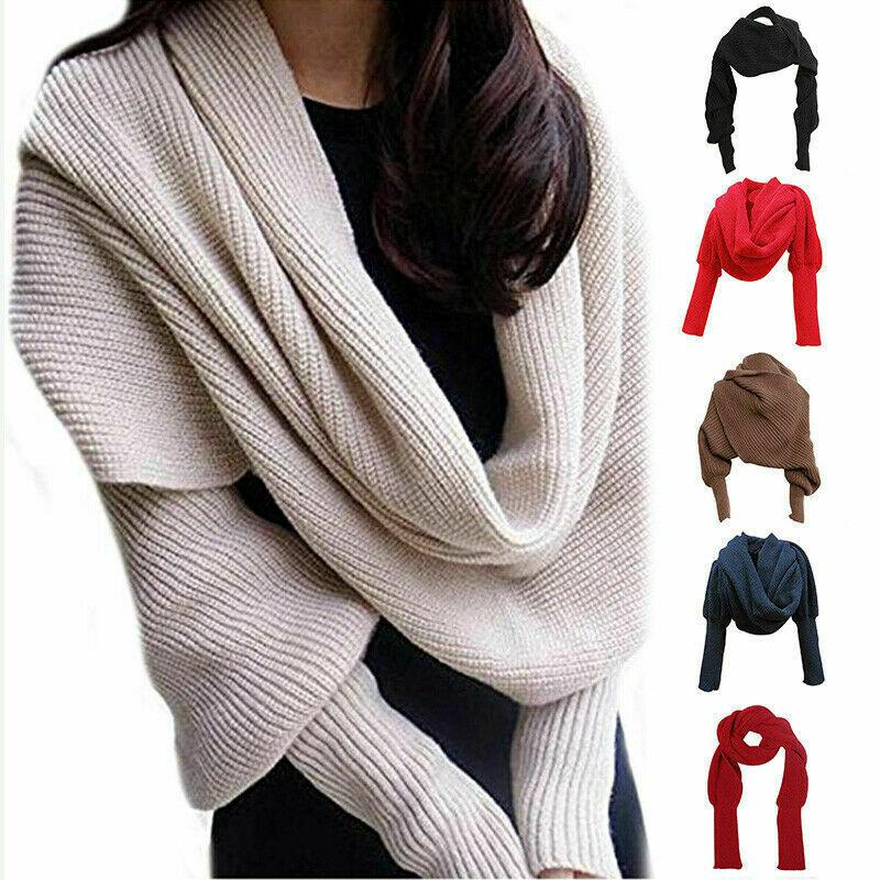 Hand-Knitted Sweater-Scarf With Sleeves