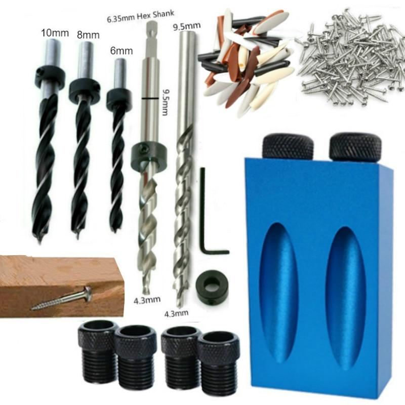 Woodworking Oblique Hole Locator Drill Bits With Jig Kit