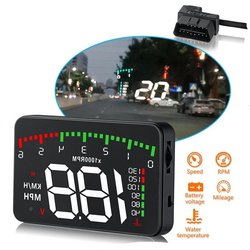 Car Windshield Heads Up Display For Vehicular Warnings & Alarms