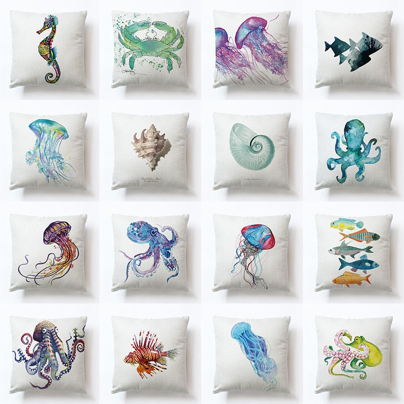Ocean Animal Printed Cushion Cover