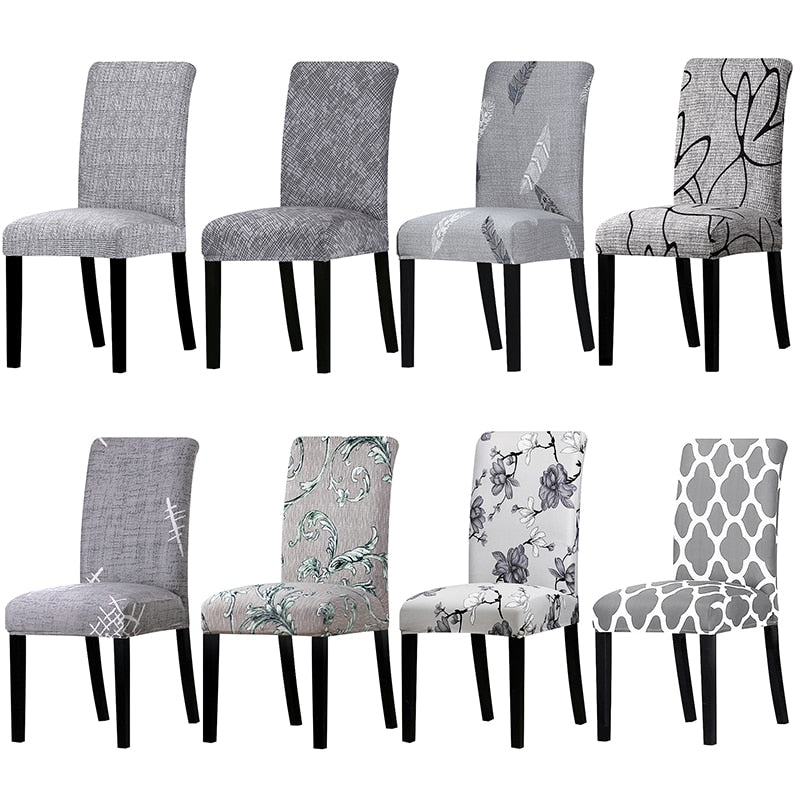 Grey Color Printed Chair Cover