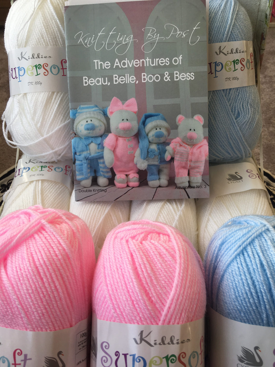 Knitting Pattern plus wool, The Adventures of Beau, Belle, Boo and Bess