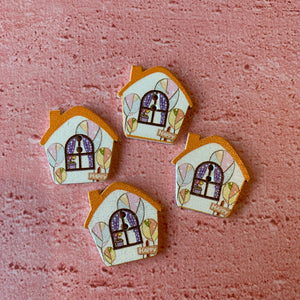 Light Brown House Buttons x 4