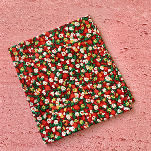 Fat Quarter, Red Background with Ditsy Flowers