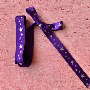 Christmas Ribbon. Purple with  Silver coloured Stars