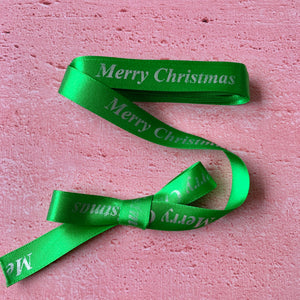 Christmas  Satin Ribbon, Green with Silver Merry Christmas