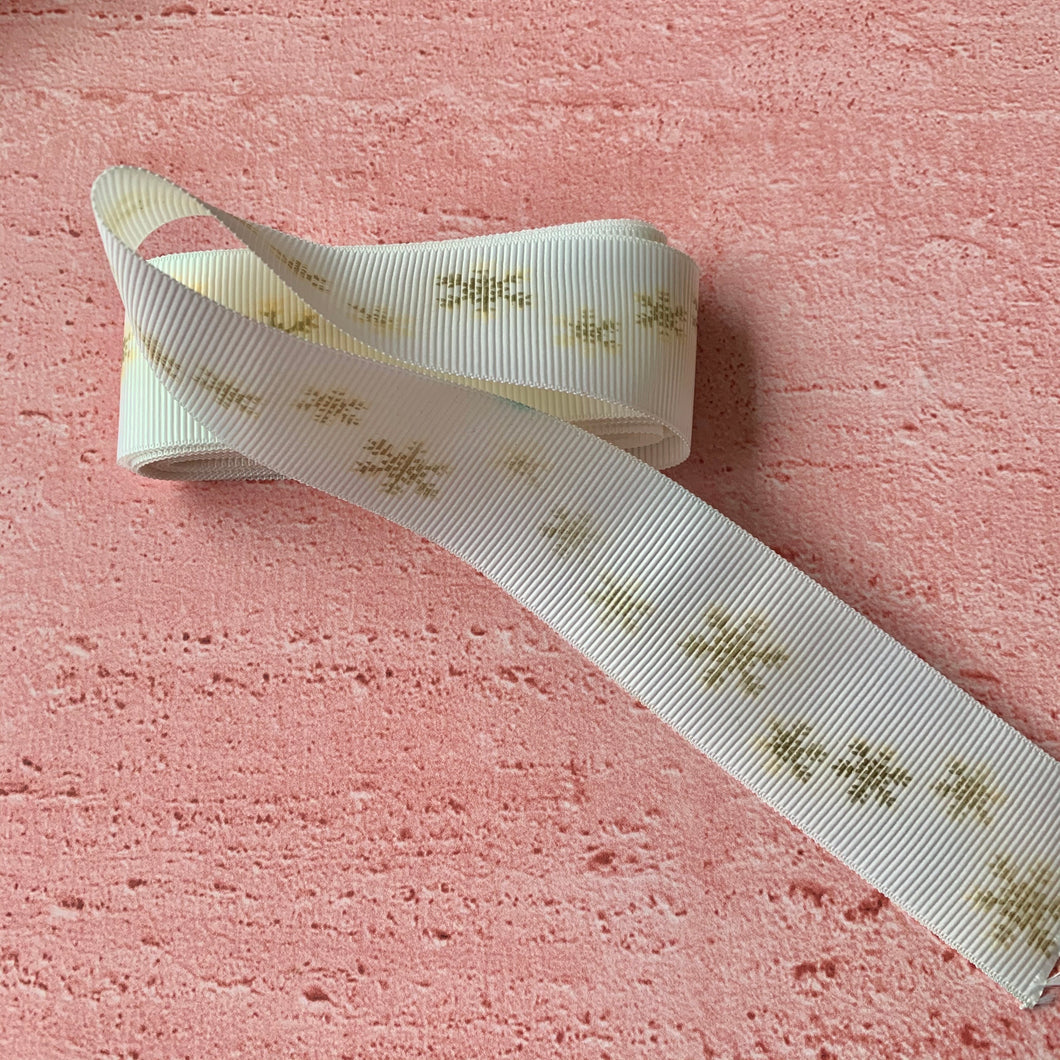 Christmnas Ribbon, White with gold coloured snowflakes