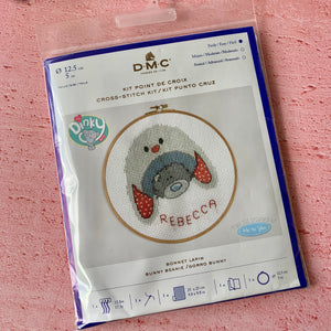 D.M.C.  My Dinky Bear,  Hooped Cross Stitch Kit, Bunny Beanie